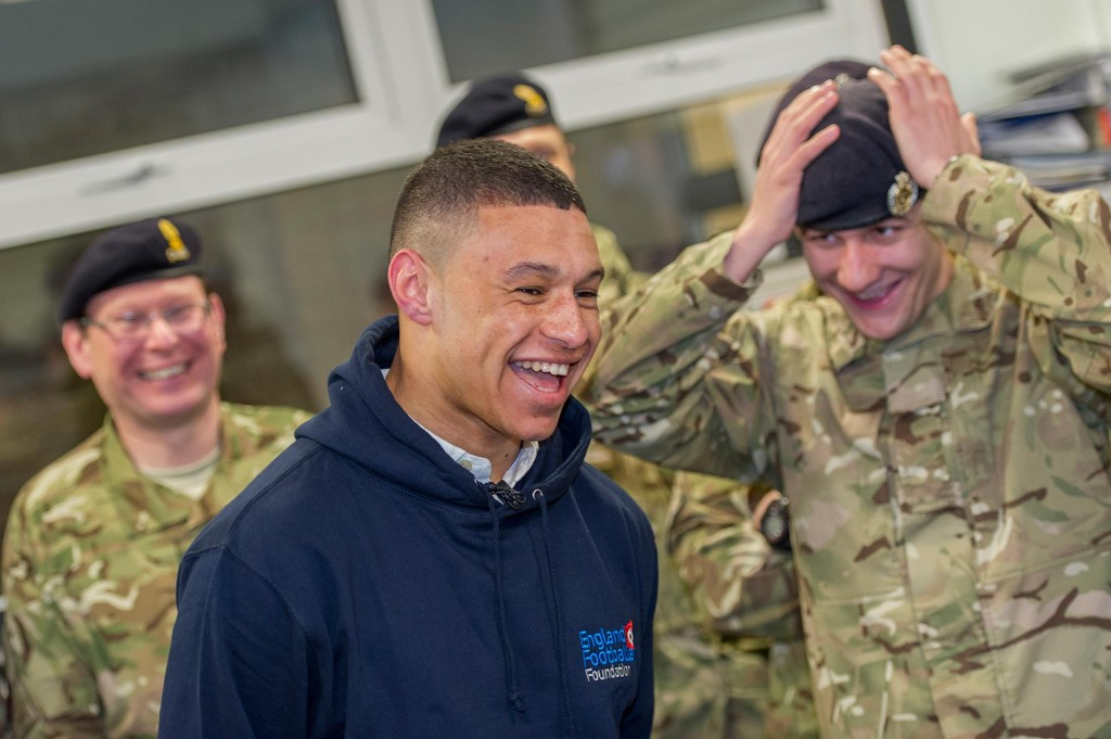 Alex Oxlade-Chamberlain meets troops from 66 Works Group Royal Engineers during a celebrity appearance at Chetwynd Barracks