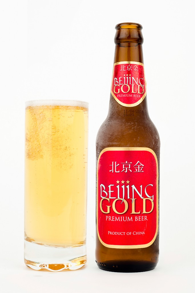 Beijing Gold beer photographed for Aisana
