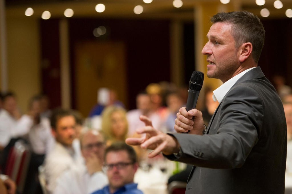 Ex-England and Manchester United footballer Lee Sharp addresses the Premier Sports annual conference diner in 2012.