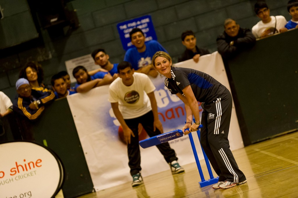 Charlotte Edwards lines up in the crease during a StreetChance tournament