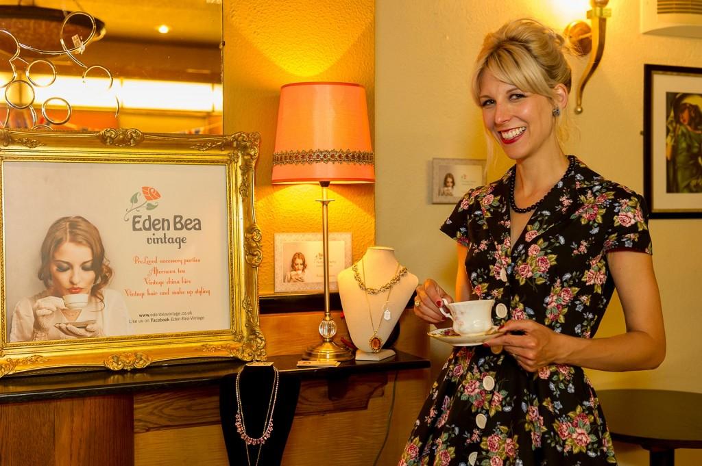 Portrait of lady holding vintage tea cup