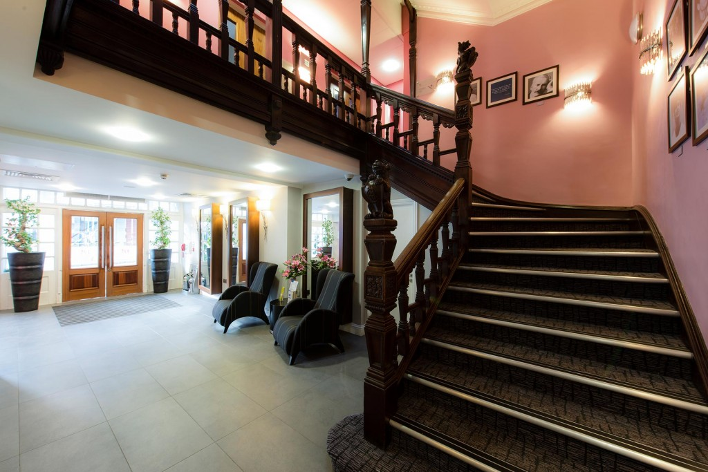 Reception and stairwell at Mercure Nottingham hotel.