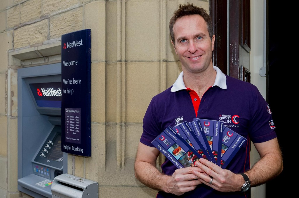 Promoting Natwest's sponsored with of the ODI series and overall support for cricket Michael Vaughan promotes the free ticket competition for Natwest customers at a branch in Bakewell.
