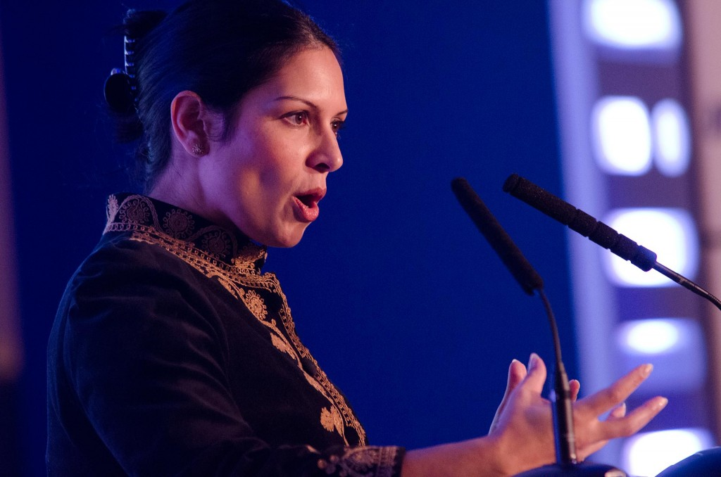 Priti Patel MP gives an address to the Indian Power Brands conference at the Marriott Hotel, Grosvenor Square