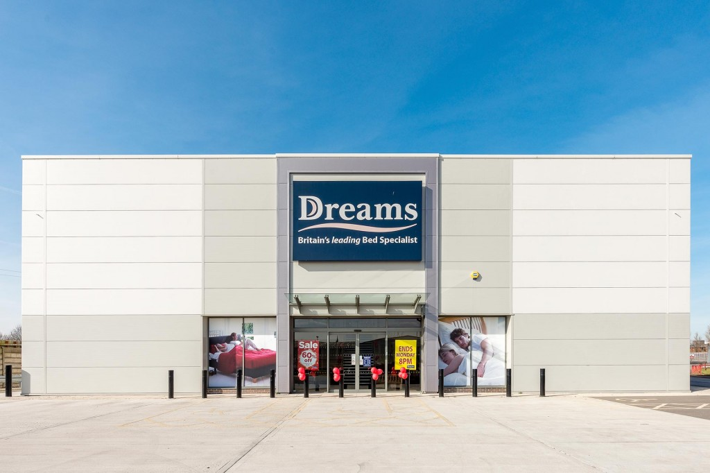 Architectural photo of the Dreams specialist bed store on the Babbage Way Retail Park, Worksop