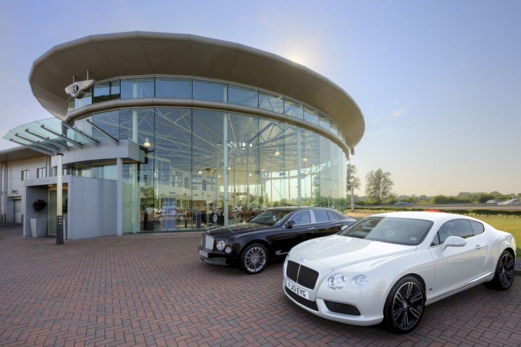 Architectural photography of the exterior of the Bentley Car Showroom, Leicester