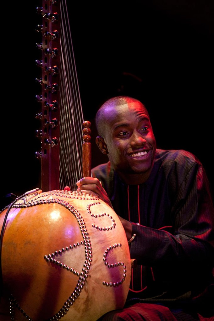 Gambian musician Sura Susso plays the traditional African instrument the Kora at a gig at Nottingham Contemporary.