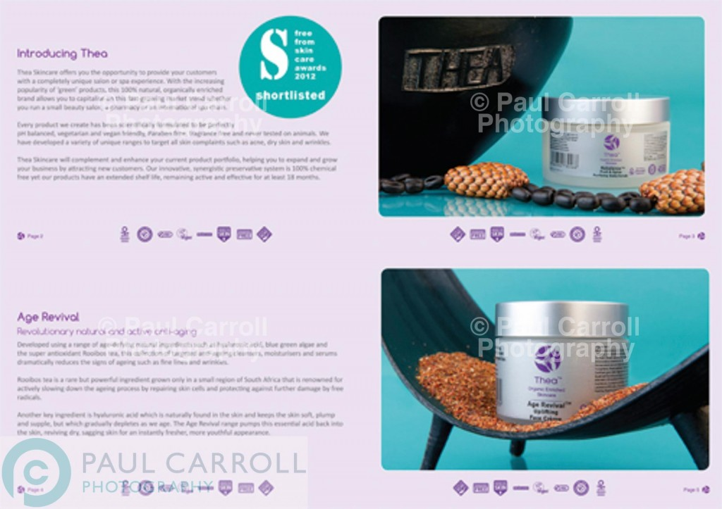 Thea Skincare sales brochure images