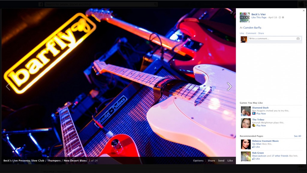 Screen shot from the Beck's Vier Facebook page utilising images taken for the Beck's Live series of intimate gigs.