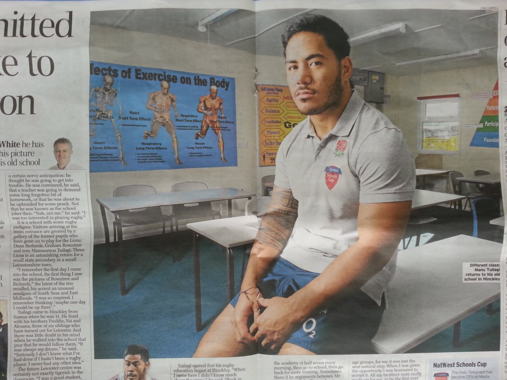 Portrait of rugby ace Manu Tuilagi featured in a double page spread in the centre of the Daily Telegraph sports section