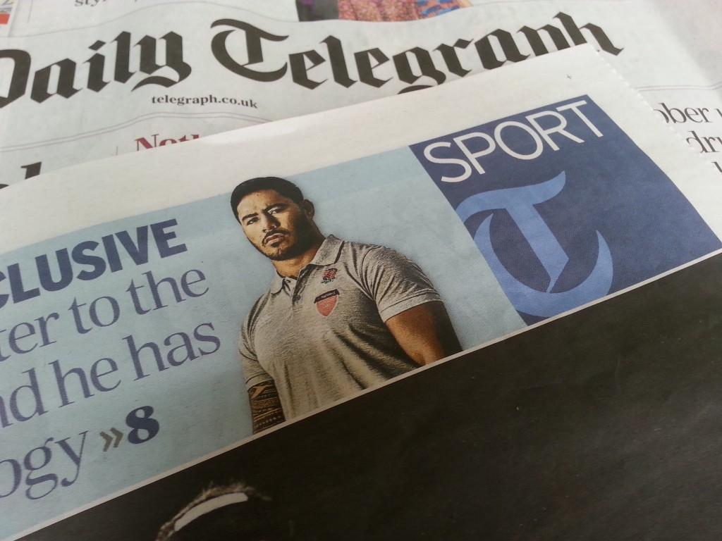 Cut out of rugby ace Manu Tuilagi featured on the front cover of the Daily Telegraph sports section