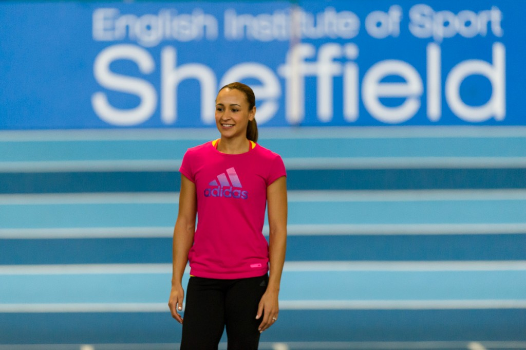 Jessica Ennis-Hill at the English Institute of Sport Sheffield over seeing a Powerade training session.