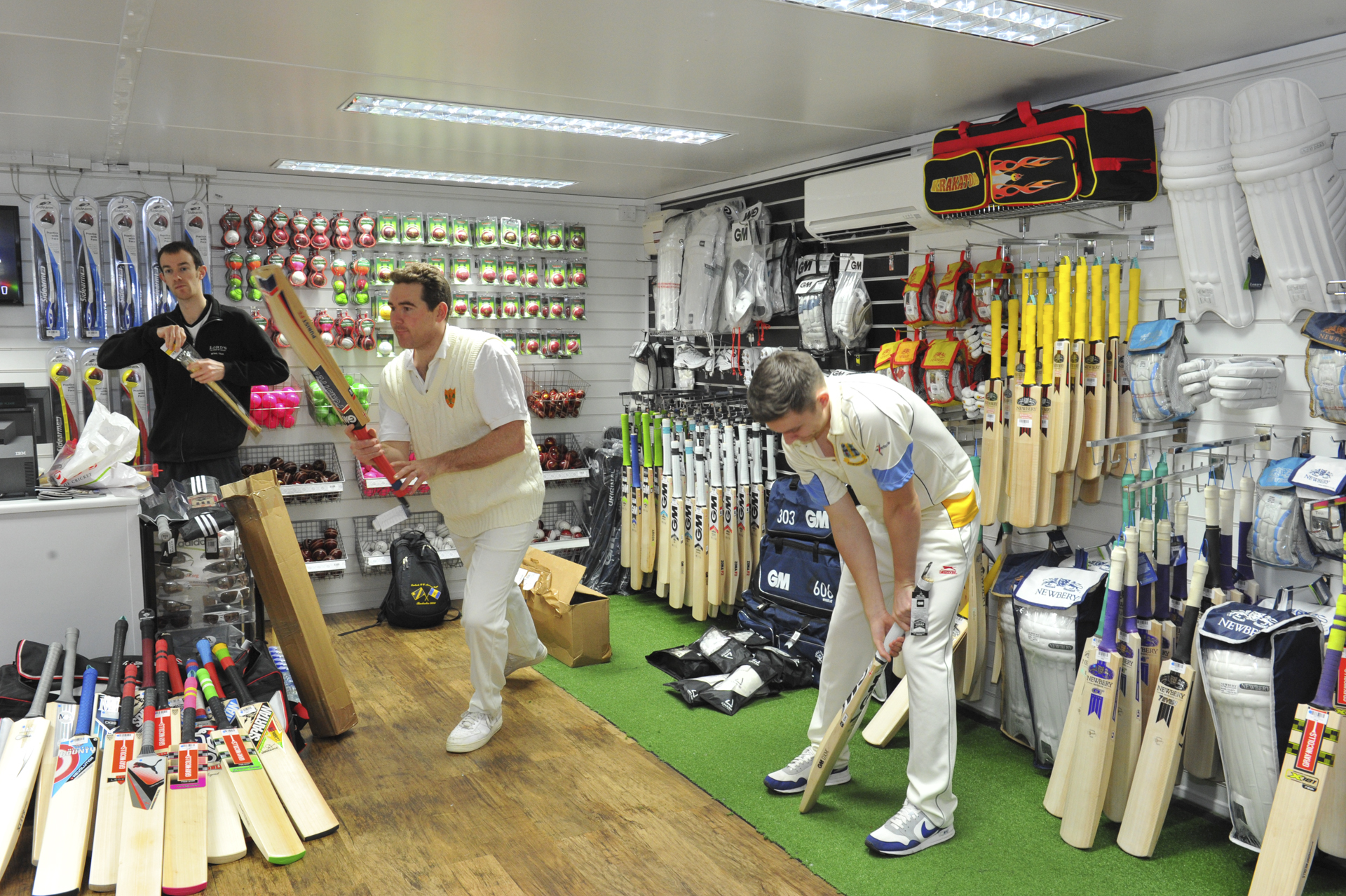 Editor of The Cricketer magazine Andrew Miller sizing up the bats in the Lords Cricket Store