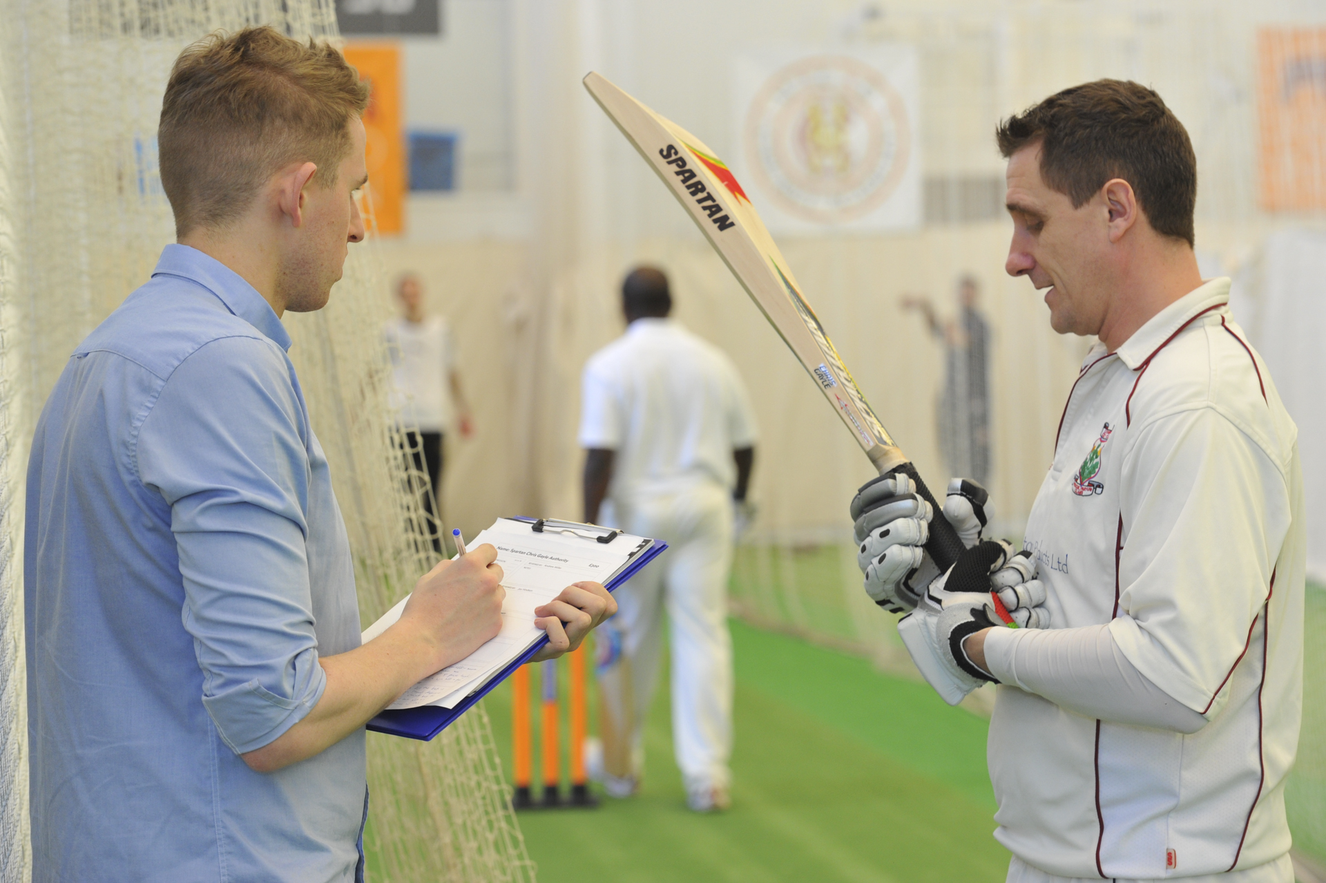 Jim Hindson from The Cricketer Magazine testing bats for their 2014 Good Gear Guide feature