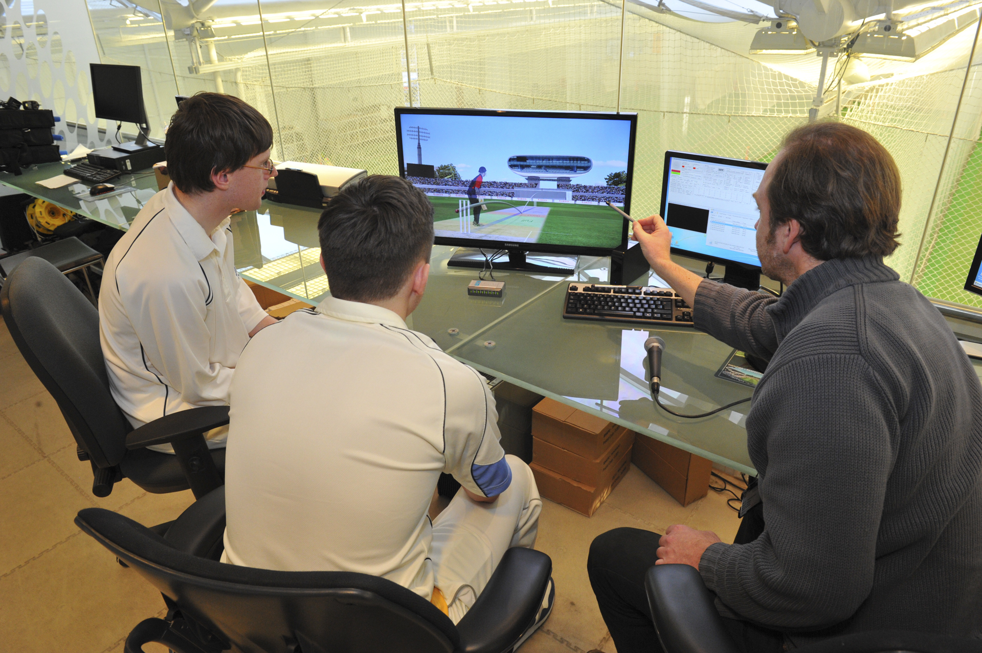 The Cricketer Magazine competition winners get their bowling assessed by Hawk Eye at Lords Indoor Cricket School