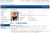Nottingham Trent University Online Staff Profiles