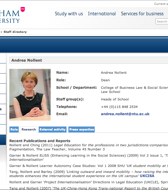Nottingham Trent University Online Staff Profiles
