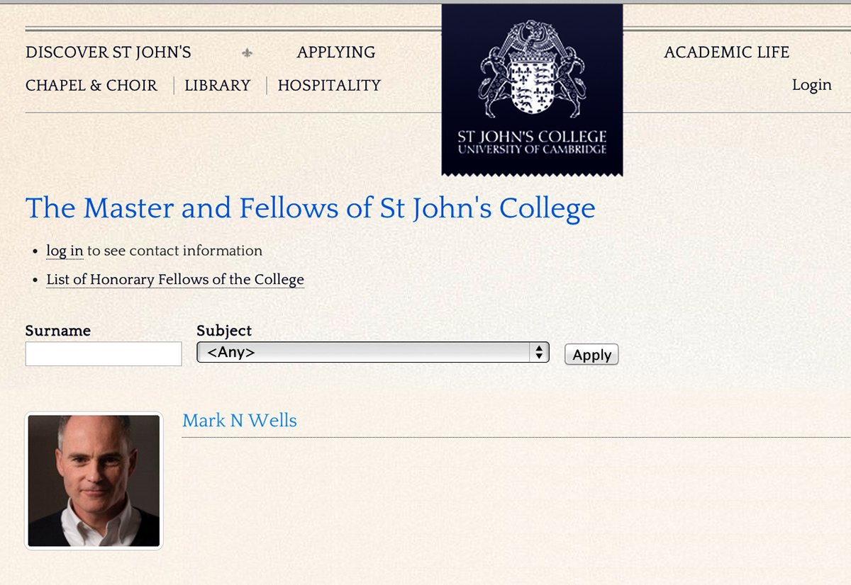 Mark's profile on the Cambridge University website. Recently appointed the details are obviously yet to be listed, but at least he's got a great profile picture!