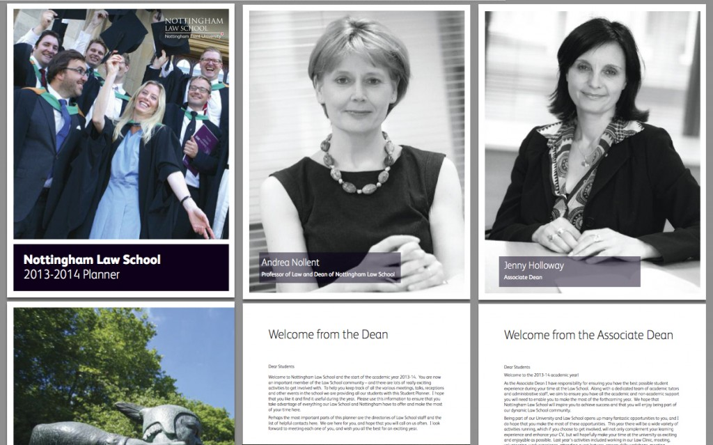 Monochrome versions were used full page in the 2013 - 2014 Nottingham Law School annual planner handed out to students.