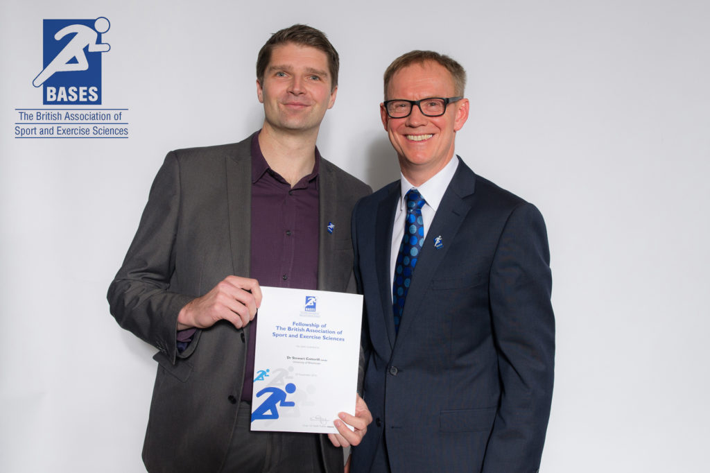 Inducted fellow of the British Association of Sport and Exercises Sciences presented with his award at the 2016 conference gala dinner
